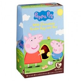 Peppa Pig milk chocolate hollow Easter egg and chocolate bar, a perfect gift this Easter! Nut safe, no artificial flavour, made in Great Britain. 65g…