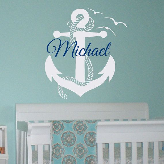 wall decal boy personalized initial name wall decals nautical anchor stickers nursery kids boys. Black Bedroom Furniture Sets. Home Design Ideas