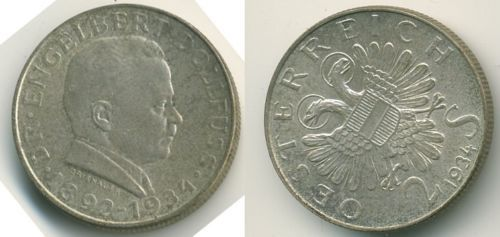 1934-Austria-2-Schilling-Death-of-Dr-Dollfuss-Coin