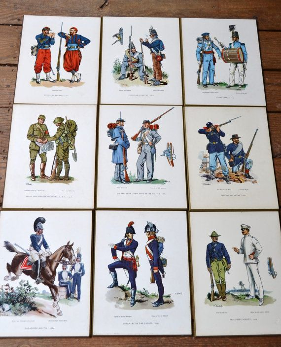 Vintage Military Uniform Prints Mounted on by PanchosPorch on Etsy, $18.00