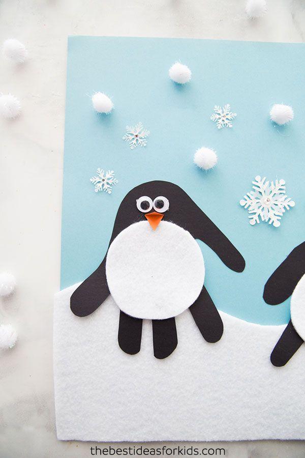 Handprint Penguin Kindergarten Crafts Winter Crafts For Kids