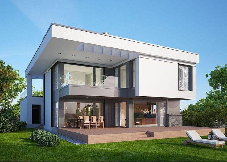 Projekt nowoczesnego domu parterowego. Przeznaczony dla rodziny 4-6 osobowej.