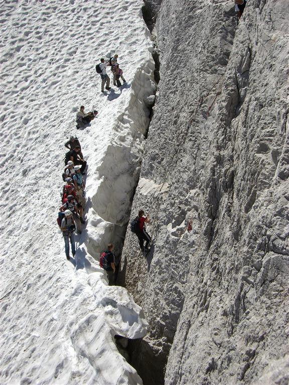 Die berühmte Randspalte - Klettersteig Zugspitze