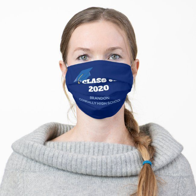Class Of 2020 Custom Graduation Blue Cloth Face Mask Zazzle Com In 2020 Face Mask Mask Face