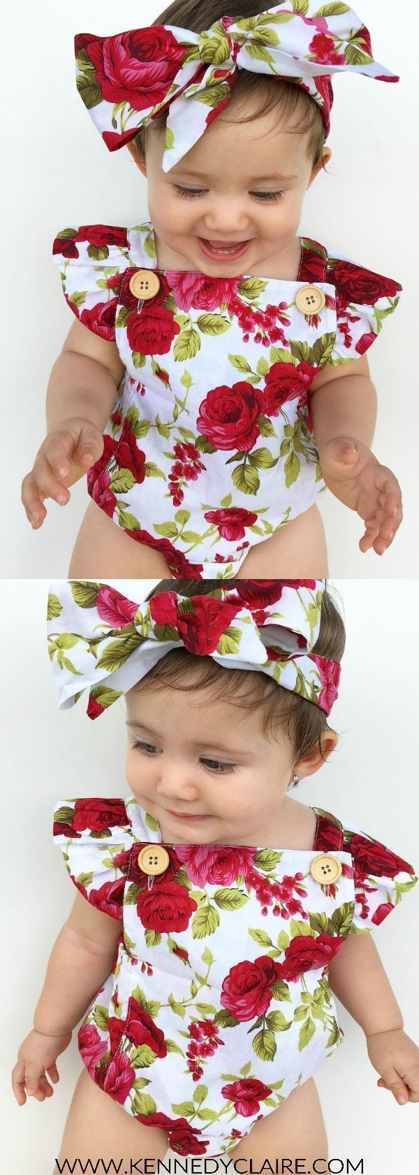 Adorable floral romper is the perfect outfit for trendy little ones! Shop our selection of baby girl clothes and baby girl rompers! #PregnancyOutfits #KidsFashion #littlegirloutfits