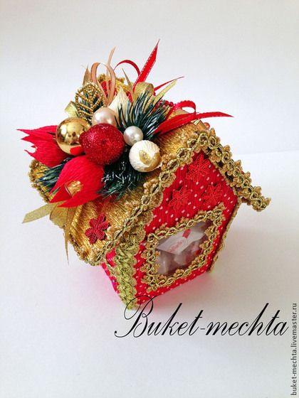 Букеты ручной работы. Ярмарка Мастеров - ручная работа. Купить Новогодний сладкий домик. Handmade. Ярко-красный, Букеты из конфет