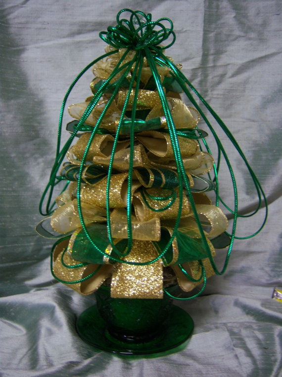 Ribbon Tree in Green and Gold in Green Oatmeal Cup by landgdesigns, $25.00