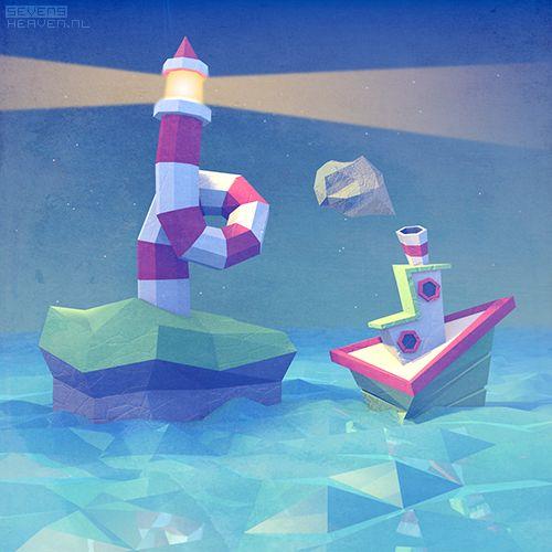 sevensheaven ship sea low poly artwork lighthouse