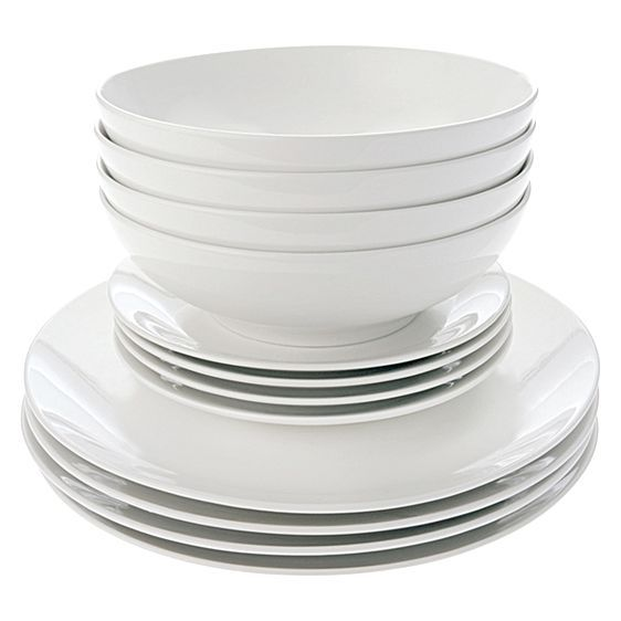 White Basics Coupe 12-Piece Dinner Set by Maxwell & Williams