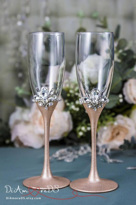 24d3ea3b8bc Rose Gold Wedding Glasses Personalized Champagne Flutes for Bride and Groom