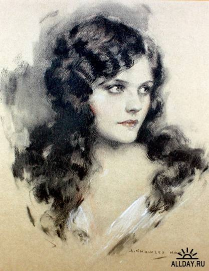 Naomi Johnson was one of the most popular Ziegfeld girls of the jazz age, performing in the Follies and associated musical comedies from 1922 until her retirement in 1930. John Knowles Hare 1909 - 1978  Was an American Illustrator and coastal New England Painter of portraits, landscapes and marine scenes.