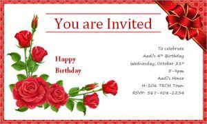 Happy birthday invitation card at word-documents.com