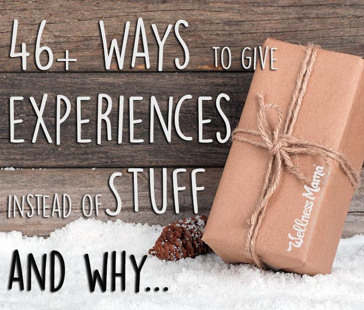 "46+ Ways to Give Your Kids Experiences Instead of Stuff - One year during Christmas, my husband and I looked at one another and our brood of kids and thought, ""Why are we spending loads of money on toys and games that will be played with once and tossed into our cluttered closets, causing stress on our time, energy, and budget?"". So we decided to change the way we give gifts at holidays, and to give them experiences they'll remember forever instead."