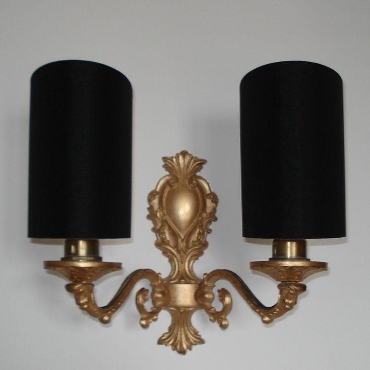 Candle Lamp Shades Shop: Taffeta in Black - Handmade, Candle Clip Half Shield Shade for Wall Lights  - Lampshades,Lighting
