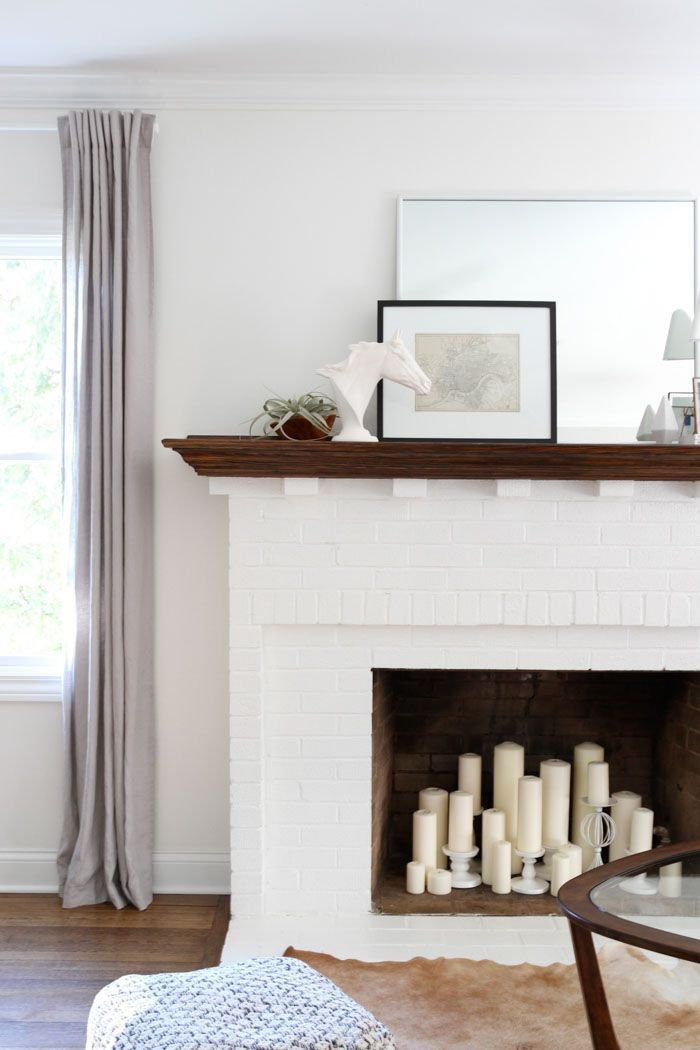 White brick fireplace, simple styling