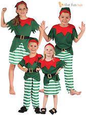 Age 2- 12 Kids Elf Costume Boys Girls Christmas Fancy Dress Santa Xmas Helper