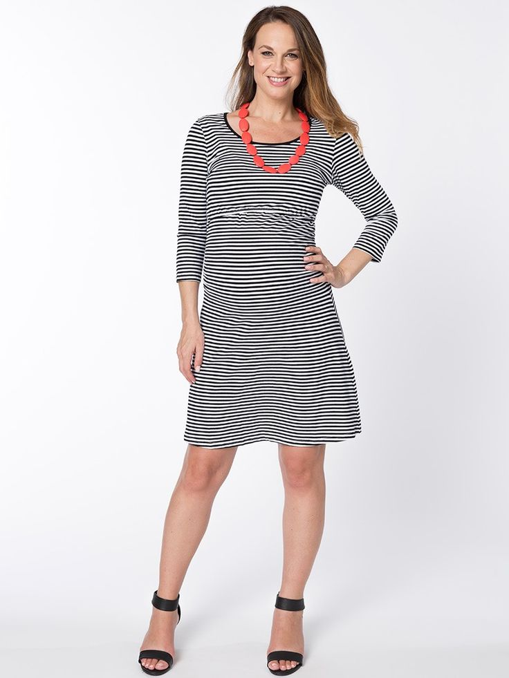 Stripelicous Breastfeeding Dress from breastmates.co.nz -- Stripelicous sister! This A-line pregnancy dress is a flirty and funky addition to your mummy wardrobe. Concealed breastfeeding openings along the empire line.