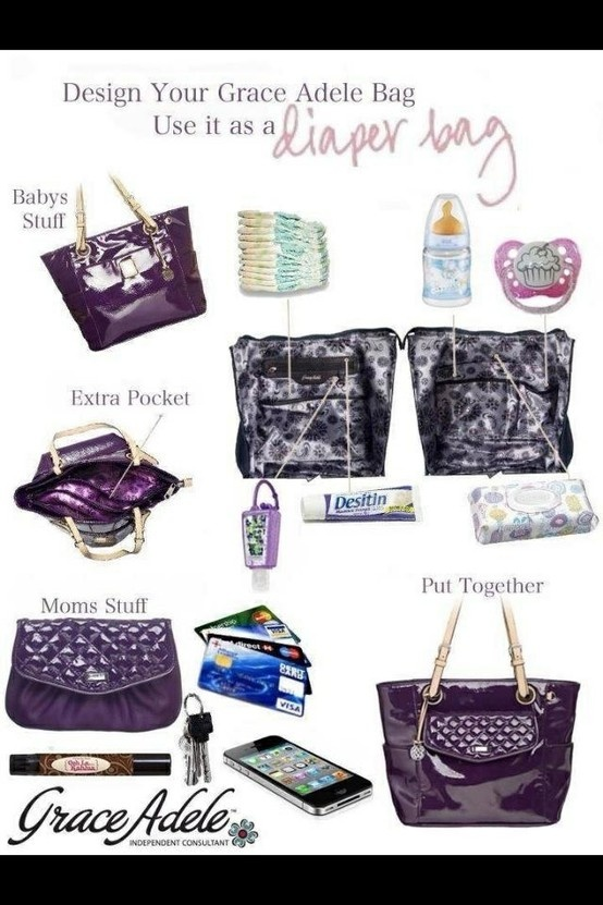 Who says mom's cant be stylish?! Did you know that the interior of EVERY Grace Adele is the SAME?! Turn your Grace Adele purse into a diaper bag and still be cool!! :-) www.Got-Fashion.com