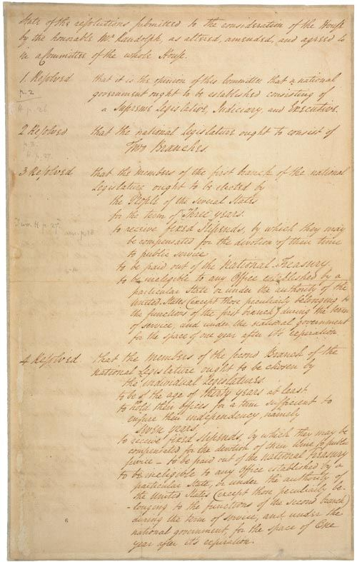 "Drafted by James Madison, and presented by Edmund Randolph to the Constitutional Convention on May 29, 1787, the Virginia Plan proposed a strong central government composed of three branches: legislative, executive, and judicial.  The Virginia Plan went through several revisions before it was finalized. These ""Variant Texts"" of the Virgina Plan are available at Yale Law School's Avalon Project."