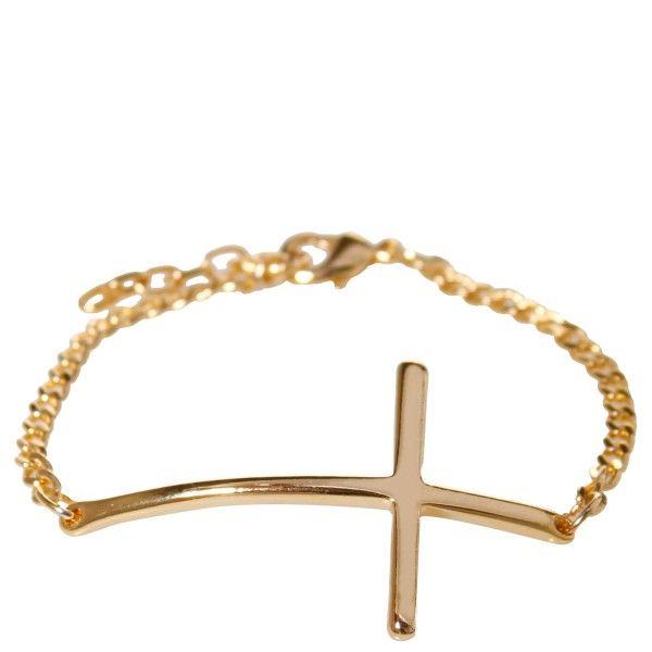 Pulseira dourada com detalhe de cruz. R$19,90