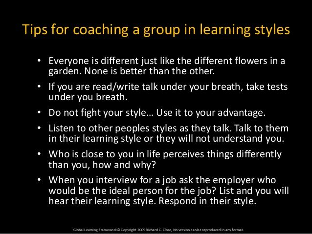 adult learning and learning styles When we are providing training or facilitating some content (eg meetings, workshops, etc), it's important to be aware of the specific adults learning.