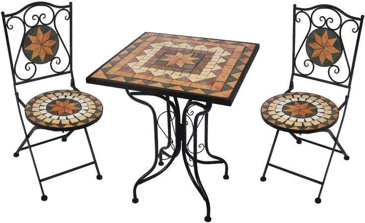 GIARDINO AY2611 Gartentisch Mosaik rund Terrassentisch Beistelltisch NEU