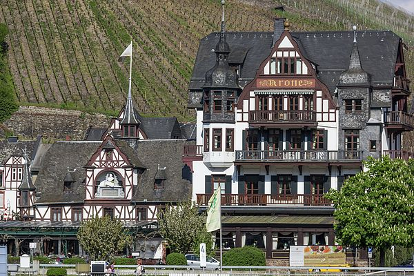 The Krone Hotel in Assmannshausen Germany dates to 1541. Such a romantic little inn along the Rhine.