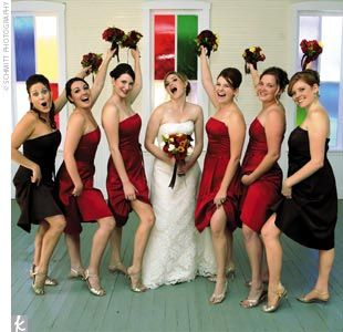 black and red bridesmaids dresses