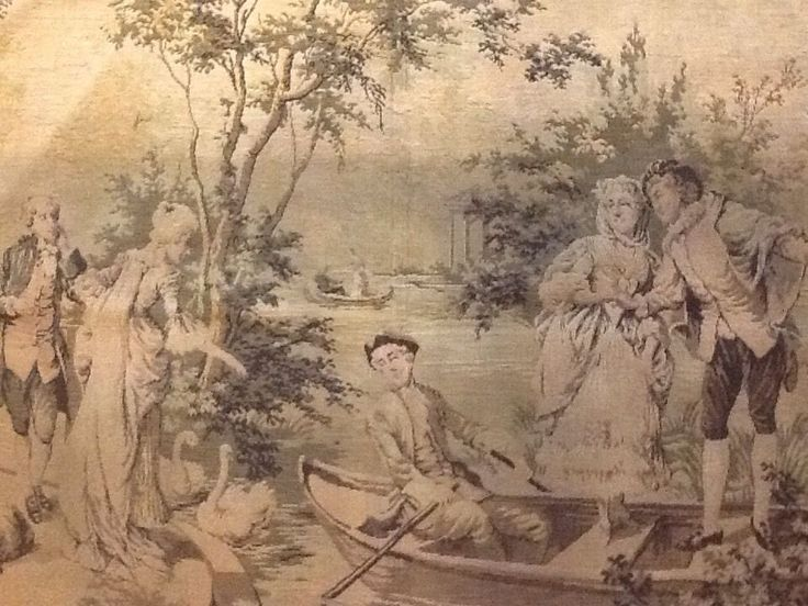Old Tapestry Victorian People Boat Swan