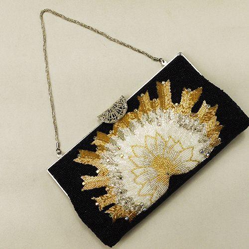 Vintage Japanese kimono style handbag / 【和装バッグ】リサイクル着物/黒地 孔雀風矢羽根柄 総ビーズ http://www.rakuten.co.jp/aiyama/
