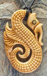 Maori Carved  Bone Manaia Pendant