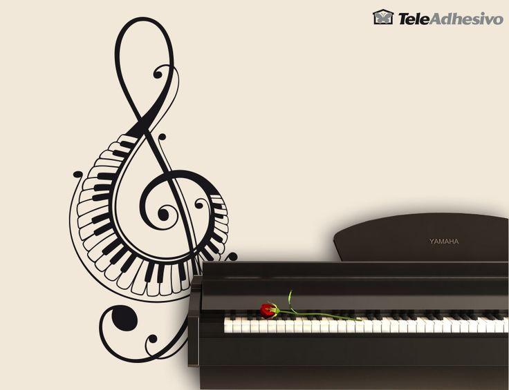 Adesivi Murali In chiave di violino con tasti di pianoforte