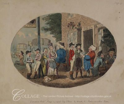A group of figures possibly outside the Old Hats Tavern, in Uxbridge, Middlesex. Uxbridge is now in the London borough of Hillingdon. 1795