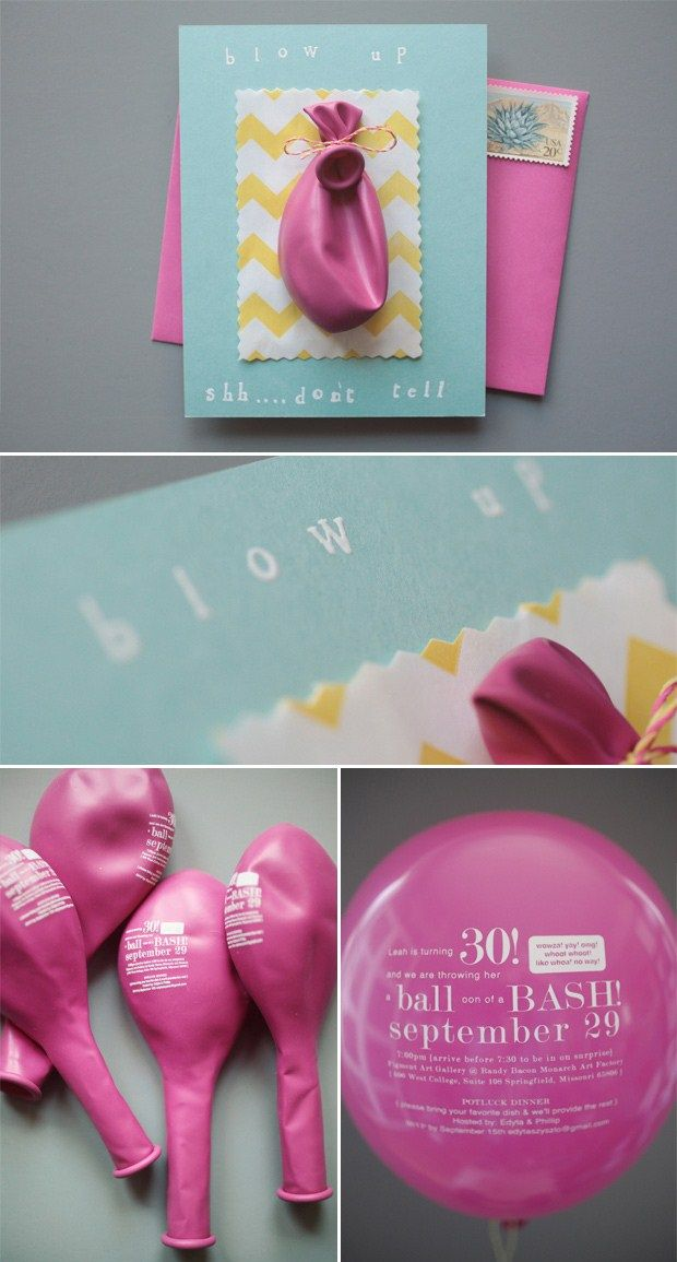 This invite was designed for a Birthday Party but we think it would fabulous for a wedding invite! Have your guests blow up the balloon to reveal the details of the day!