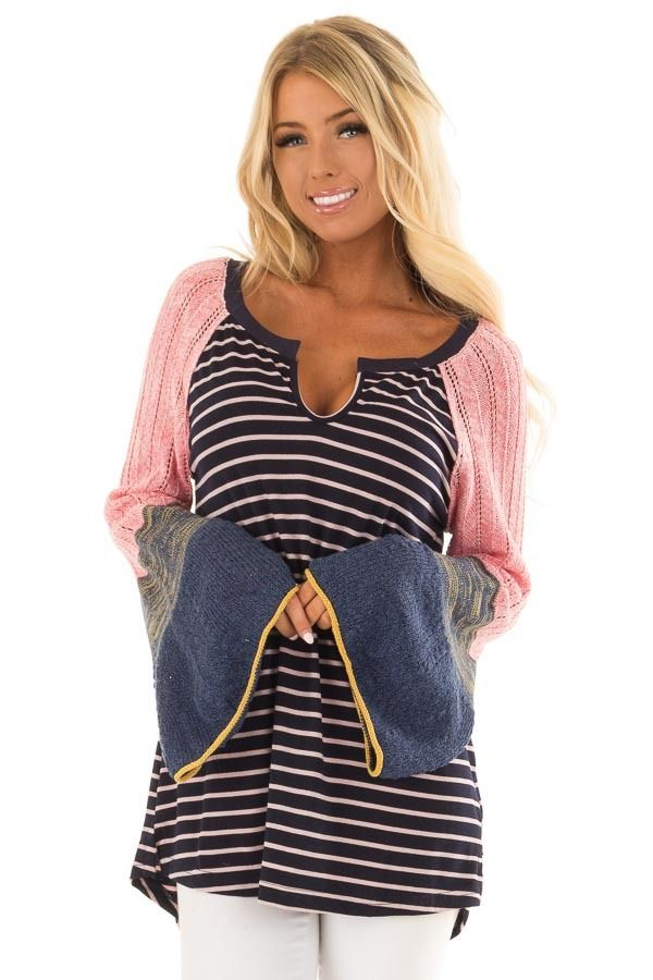 848ffbc3541 Navy and Blush Striped Top with Knit Bell Sleeves