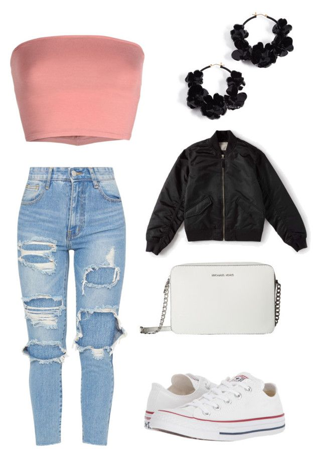 """Casual Outfit No.2"" by tamsynfairweather ❤ liked on Polyvore featuring Oscar de la Renta, Annarita N., MICHAEL Michael Kors, Converse and Everlane"