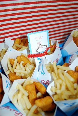 Fish and chips, kid style= chicken nuggets and french fries. Pirate party