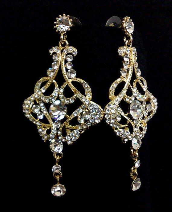 Gold Bridal Earrings, Crystal Chandelier Earrings, Art Deco Wedding, Gatsby Jewelry, Victorian Earrings, CARMEN GOLD on Etsy, $55.00
