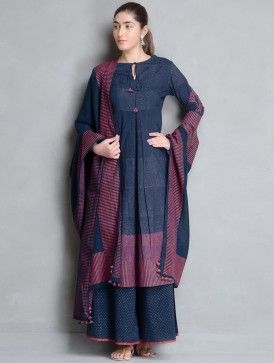 Indigo Block Printed Elasticated Waist Cotton Palazzos