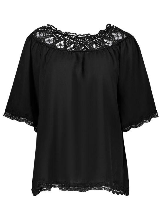 Off The Shoulder Lace Inset Blouse - BLACK M