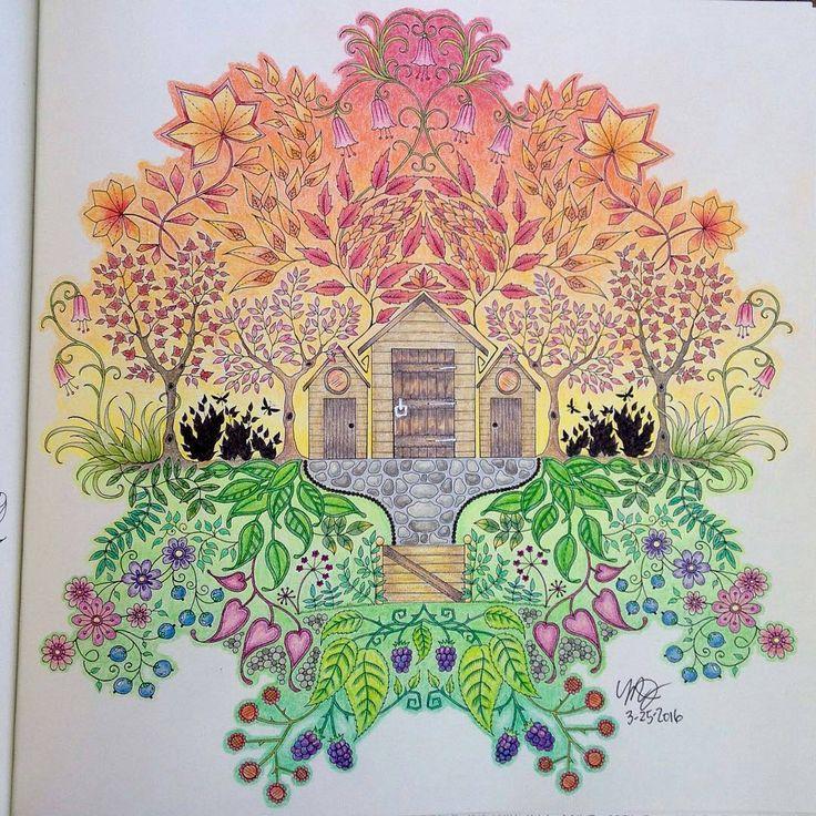 Garden Cottage Johanna Basford Secret Gardens Colouring Sunsets