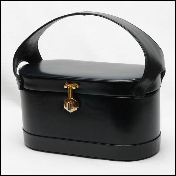 Vintage handbag - Rare 50's Murray Kruger dark navy blue leather vintage box handbag, purse, hand bag, bag, boxbag, box bag,pocketbook