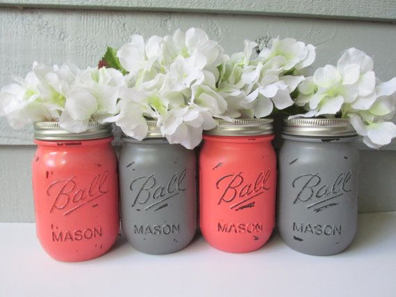 Painted and Distressed Ball Mason Jars- Coral and Gray-Set of 4-Flower Vases, Rustic Wedding, Centerpieces on Etsy, $28.00