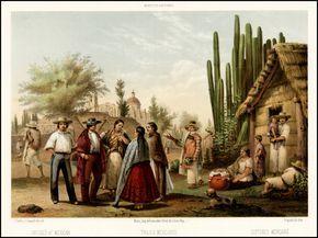 Trajes Mexicanos -- Dresses of Mexican -- Costumes Mexicains - Barry Lawrence Ruderman Antique Maps Inc. From: Mexico y Sus Alrededores, Coleccion de Monumentos, Trajes y Paisajes Dibujados al Natural y Lithografiados por los Artistas Mexicanos, published in Mexico City in 1855-56.