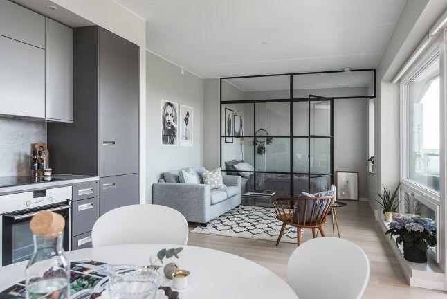 La tendance verrière pour la chambre: 39 square meters