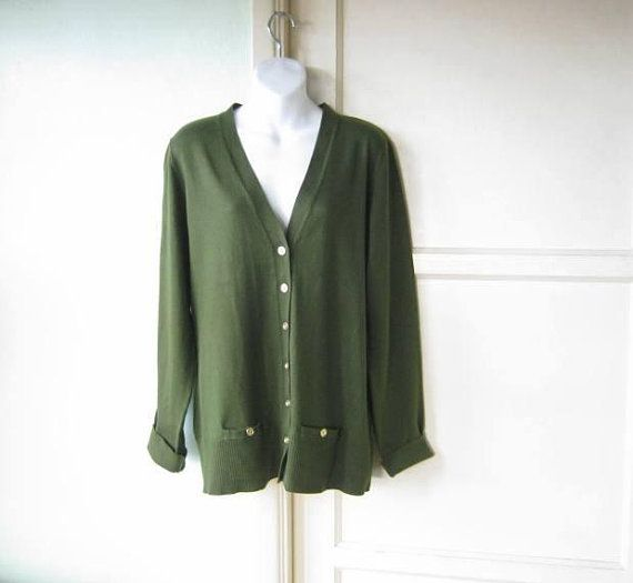 dff59404df3 Tunic-Length Moss Green Cardigan  Women s Lg XL Long-Sleeve Cardi w   Pockets   Old Man  Cotton Blend Sweater  U.S. Shipping Included