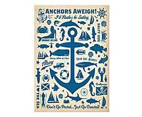 Stampa su carta Anchor Pattern Print - 42x60 cm