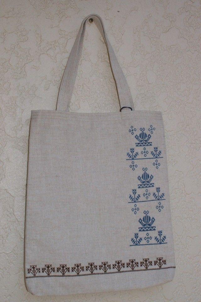 図書館バッグ(手刺繍) 北欧フォークロアー Blue-Brownの画像1枚目