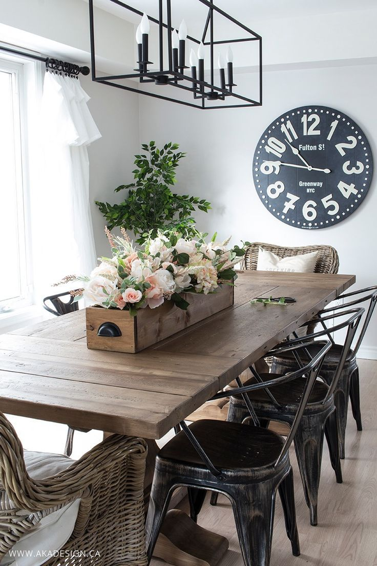 Dining table centerpiece - Diy Faux Floral Arrangement Feminine Yet Rustic Crate Farmhouse Dining Room Tabledining