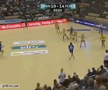 Women's handball cop a feel
